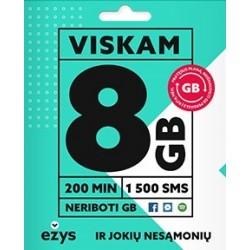 EŽYS 8GB + 200 min. + 1500 SMS PAKUOTĖ